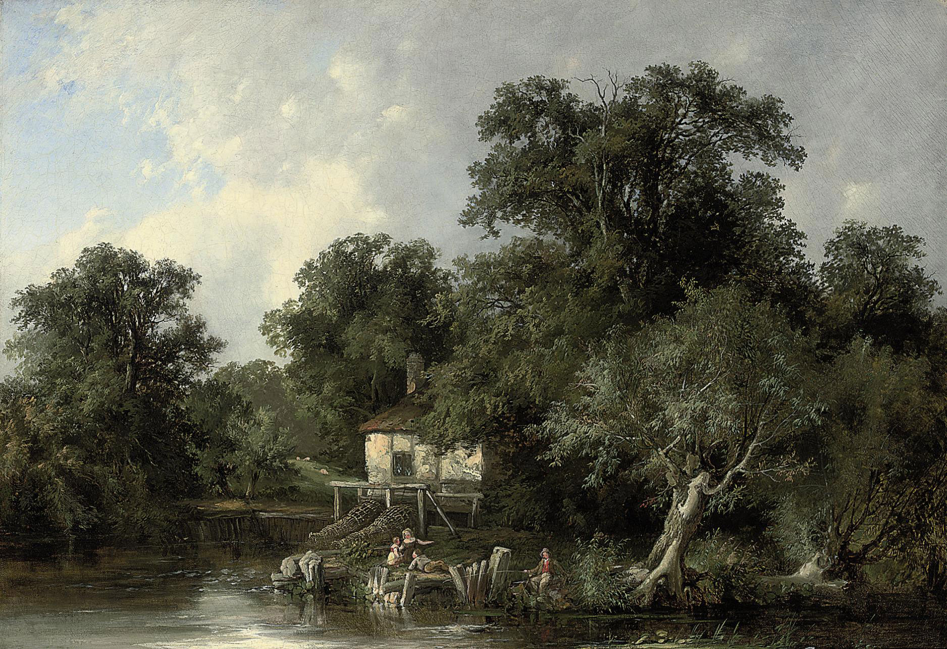 Young anglers by a watermill