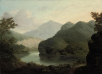 Two travellers resting by a lake, a mountainous landscape beyond