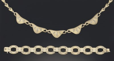 A gilt and marcasite necklace
