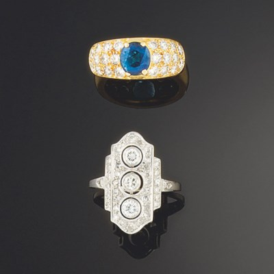 An Art Deco diamond ring and a