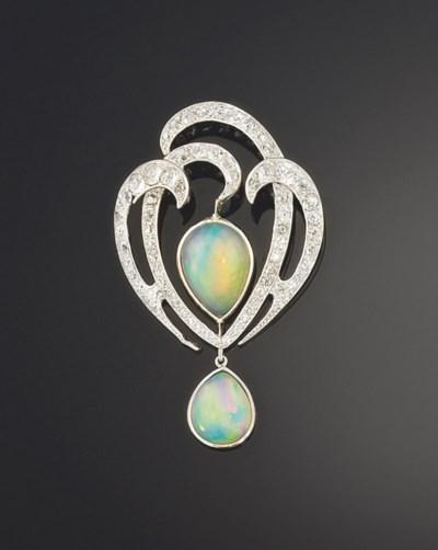 An opal and diamond brooch/pen