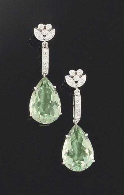 A pair of green quartz and dia