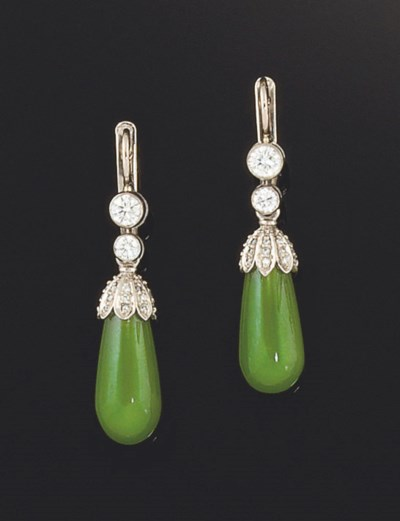 A pair of nephrite jade and di