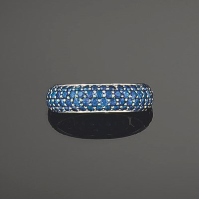 A sapphire eternity ring