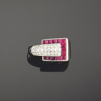 An Art Deco platinum, ruby and