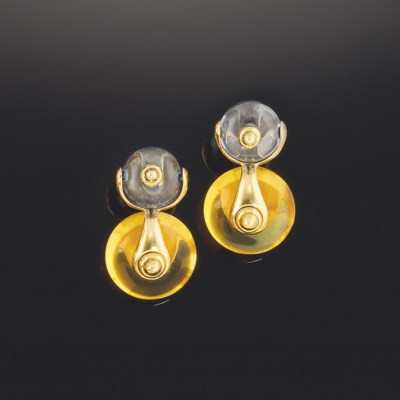 A pair of citrine and treated