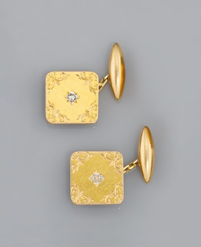 A pair of Edwardian gold and d