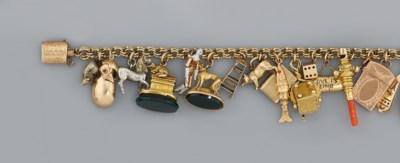 A 19th century gold charm brac