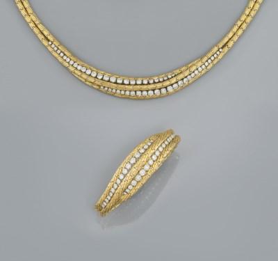 A diamond set necklace and bra