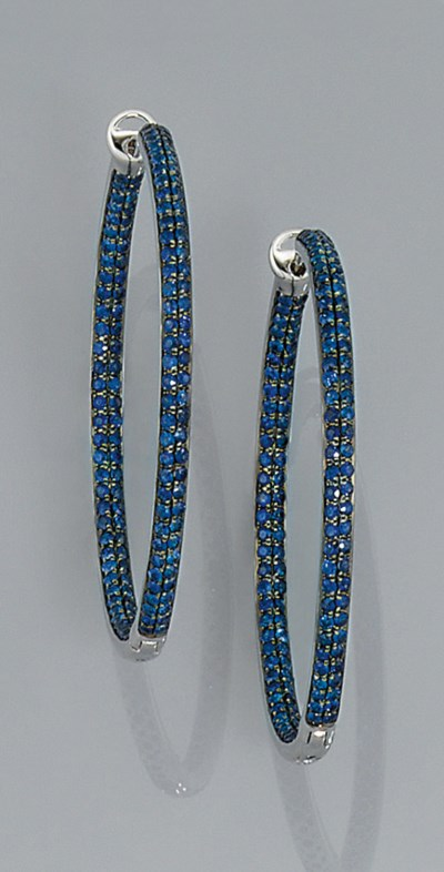 A pair of sapphire earrings