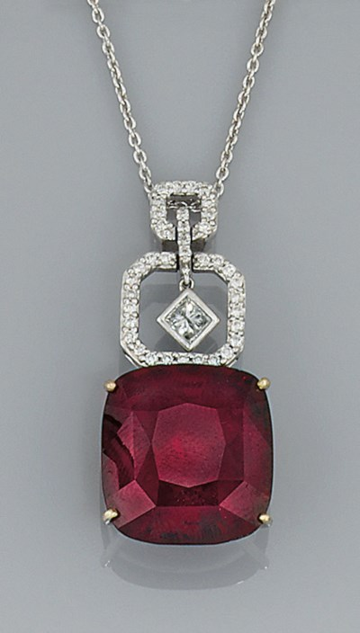 A garnet and diamond pendant