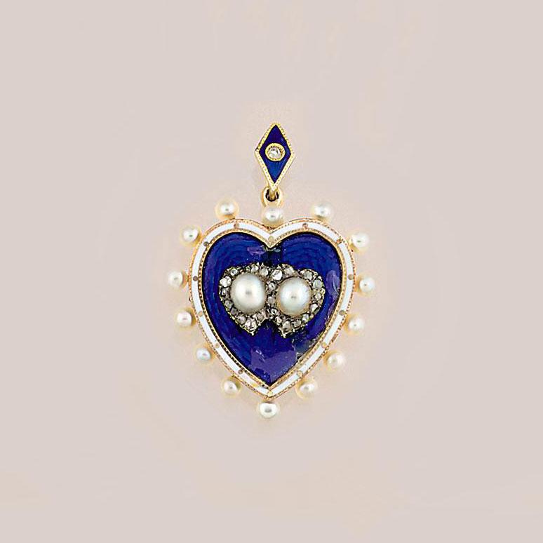 An Edwardian pearl, enamel and