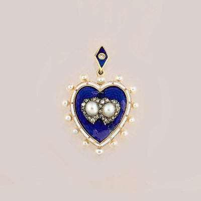 An Edwardian pearl, enamel and