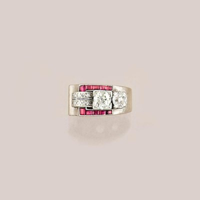 An Art Deco diamond and ruby s