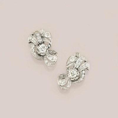 A pair of Art Deco diamond set