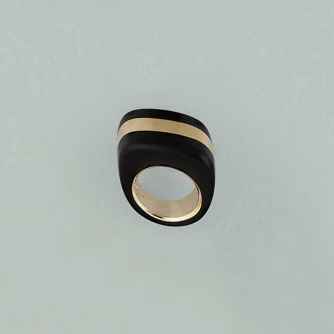 An ebony set ring, by Vhernier