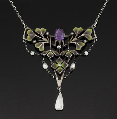 An Art Nouveau silver, enamel,