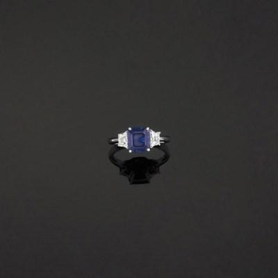 A sapphire and diamond three-s