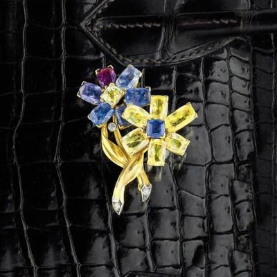 A vari coloured sapphire brooc