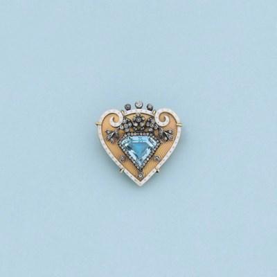 A gold, aquamarine, diamond an
