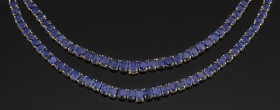 A double-row sapphire necklace