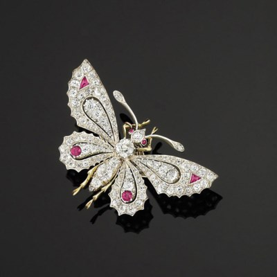 A ruby and diamond-set butterf