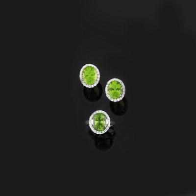 A peridot and diamond ring and
