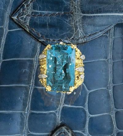 An 18ct. gold, aquamarine and