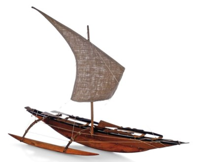 A CARVED WOOD MODEL OF A CEYLO
