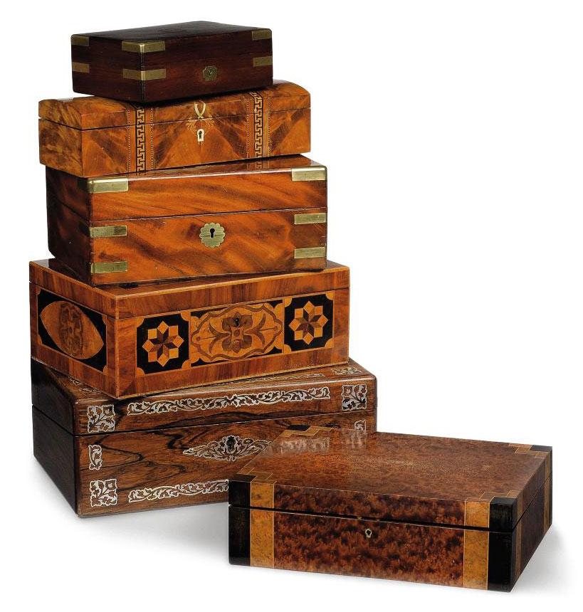 A THUYA AND SPECIMEN WOOD BOX