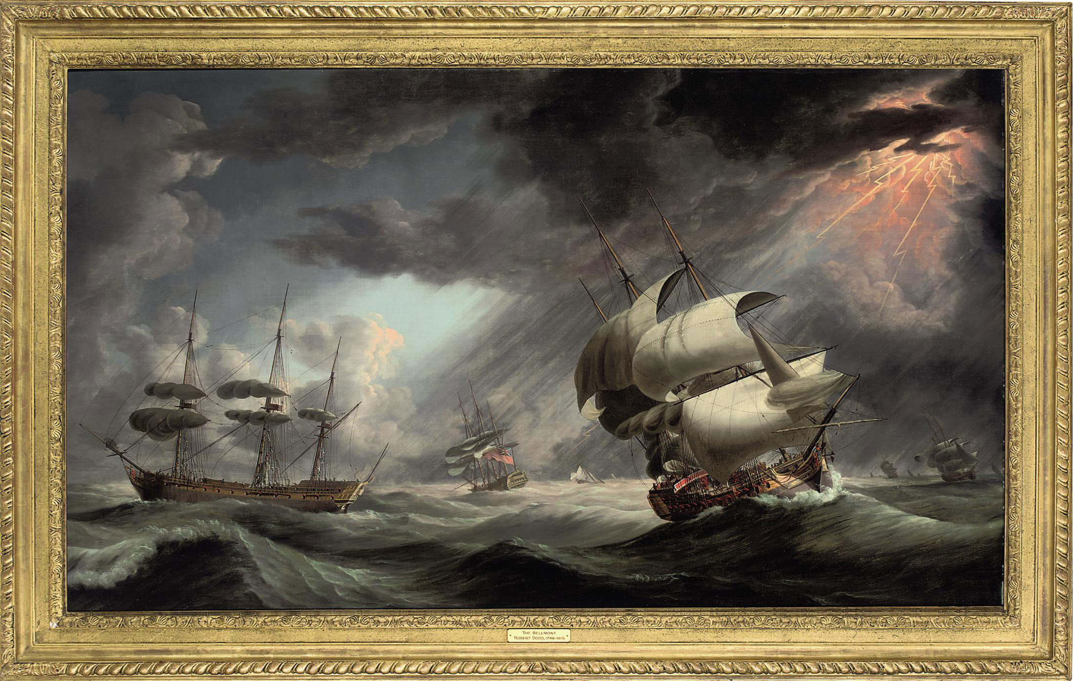 A Royal Naval warship in two positions within a Squadron of the Red caught in a gale