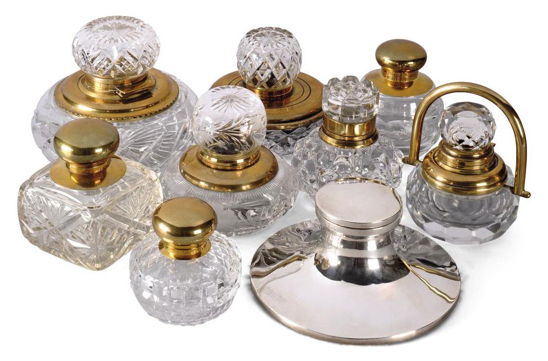 EIGHT BRASS MOUNTED CUT-GLASS