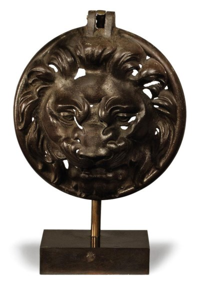 A FRENCH CAST-IRON LION MASK