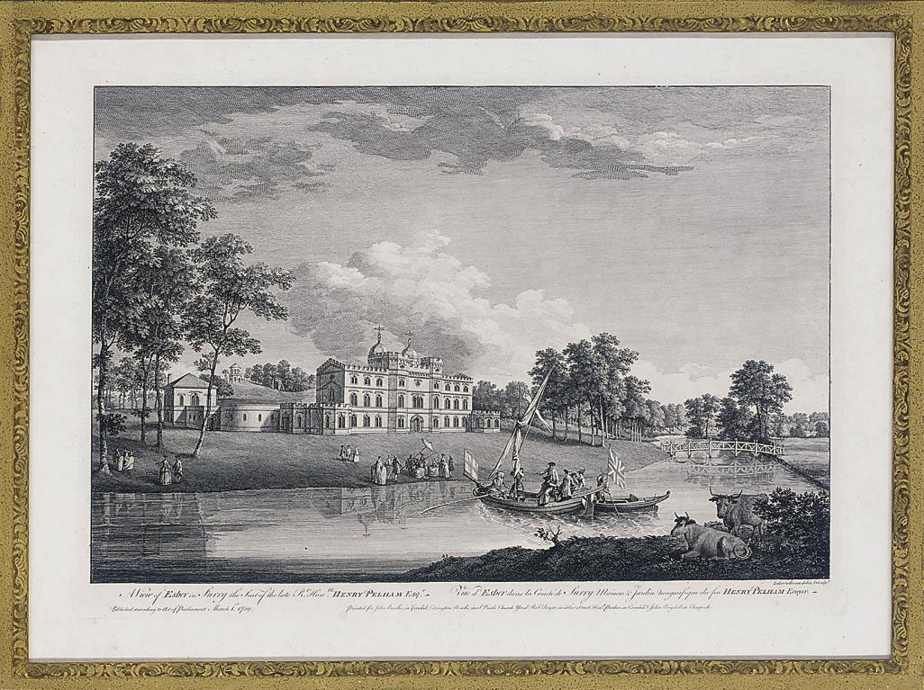 A View of the Garden and Cascade of Sir Francis Dashwood; A View of the Walton Bridge, Venus's Temple and garden of Sir Francis Dashwood; A View of the House and part of the Garden of His Grace the Duke of Argyl at Whitton; A View of the Canal and of the Gothick Tower in the Garden of His Grace the Duke of Argyl at Whitton; A View of Esher in Surry the seat of the late Rt. Hon. Henry Pelham; A View from the West Side of the Island in the Garden of the Hon. Charles Hamilton Esq at Painshill near Cobham in Surry; A View of Wilton, in Wiltshire, the seat of the Rt. Hon. Earl of Pembroke; A View of Woobourn in Surry, the seat of Philip Southcote Esq; A view of Oatlands in Surry, the seat of the Rt. Hon. the Earl of Lincon; and A View of Ditchley in Oxfordshire, the seat of the Earl of Litchfield