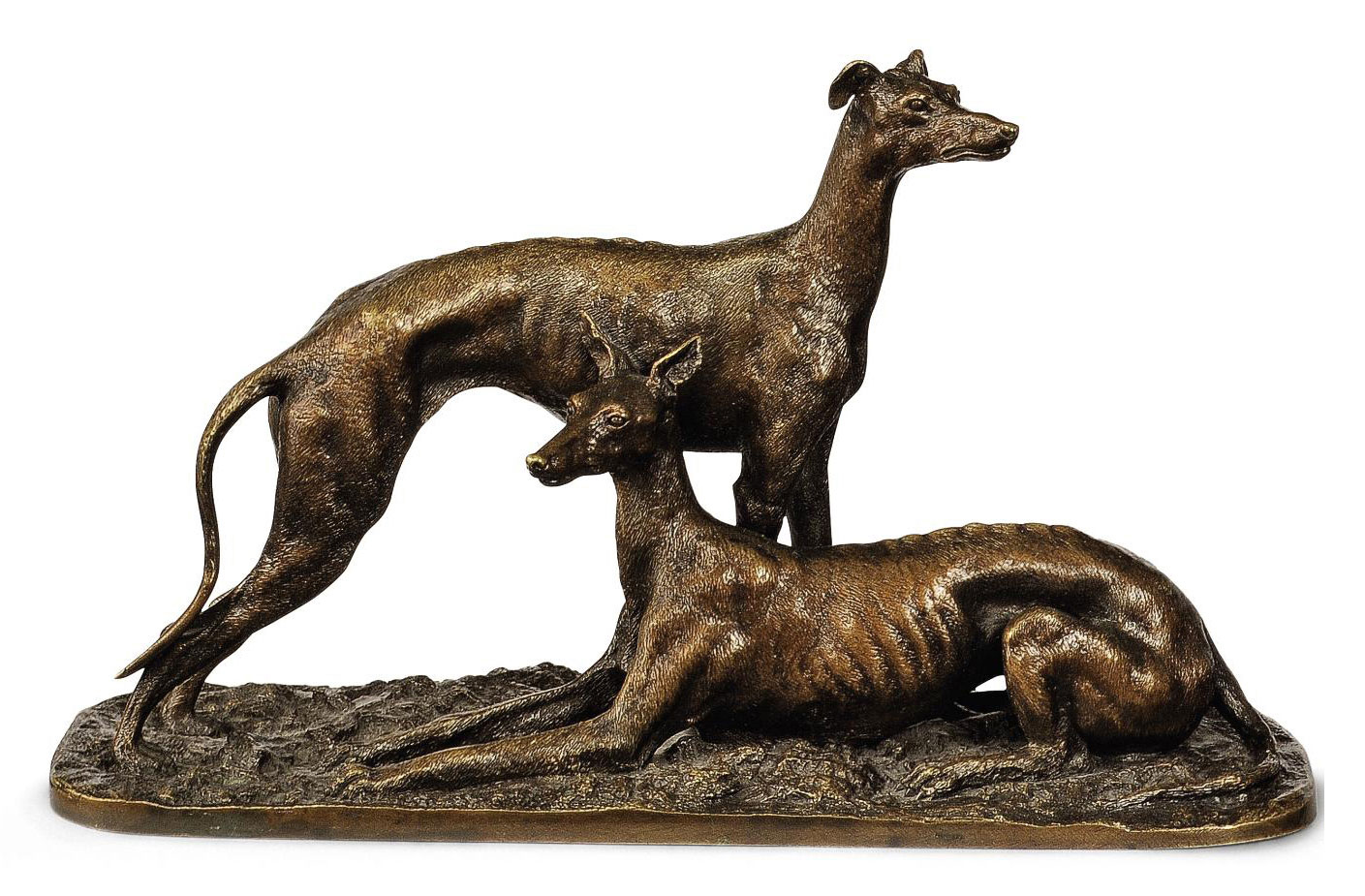 A FRENCH BRONZE GROUP OF TWO W