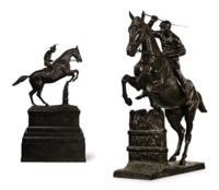 A FRENCH BRONZE MODEL OF A STEEPLECHASER