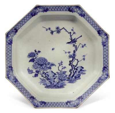 A CHINESE OCTAGONAL BLUE AND W