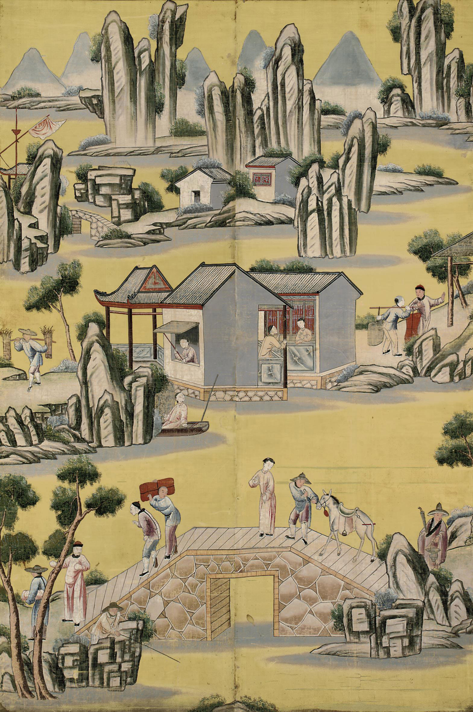 Chinese painting on silk, 19th