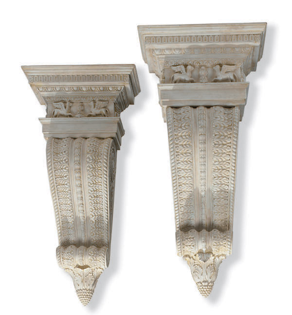 A PAIR OF CARVED AND PAINTED H