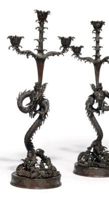 A PAIR OF JAPANESE DRAGON CAND