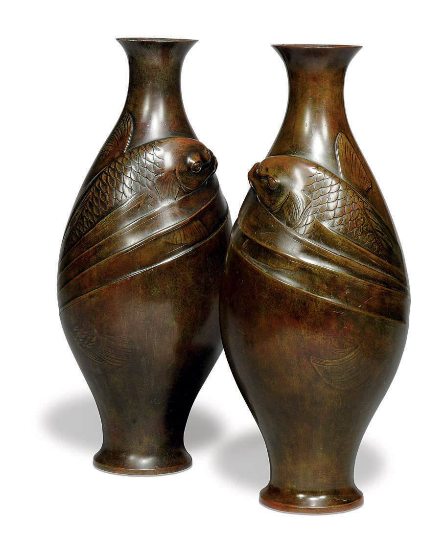 A PAIR OF JAPANESE BRONZE FISH