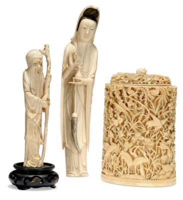 A CHINESE IVORY CYLINDRICAL BO
