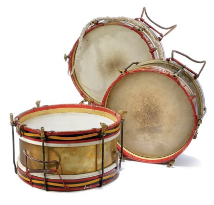 THREE EDWARDIAN MILITARY DRUMS