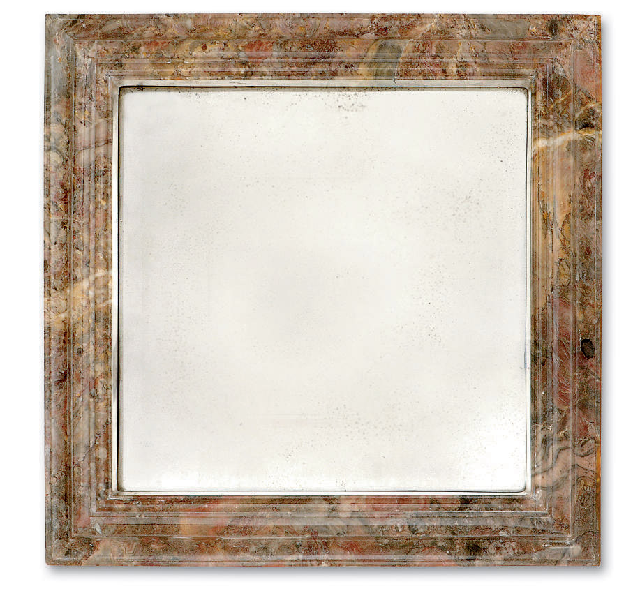 A PAIR OF MARBLE FRAMED WALL M