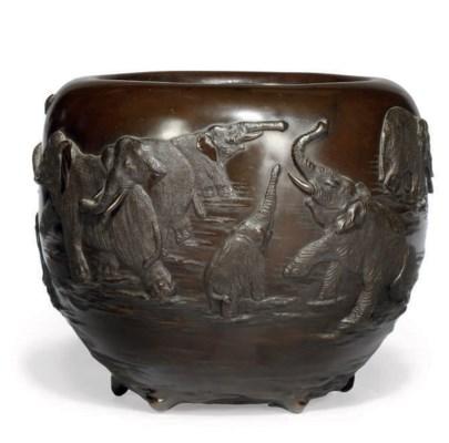 A JAPANESE BRONZE ELEPHANT JAR