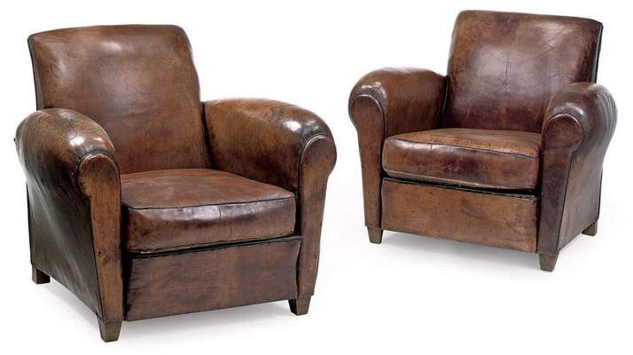 A PAIR OF LEATHER UPHOLSTERD B