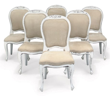 A SET OF SIX WHITE PAINTED DIN