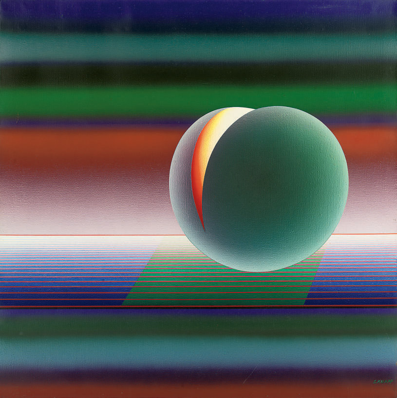 Abstract composition with a sphere