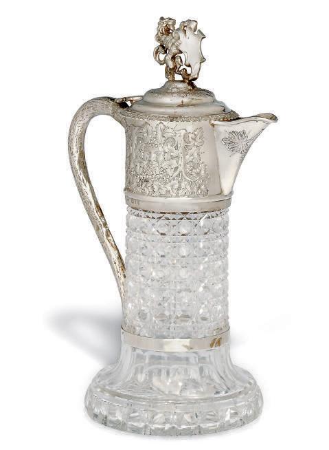 A VICTORIAN SILVER-MOUNTED CUT GLASS CLARET JUG