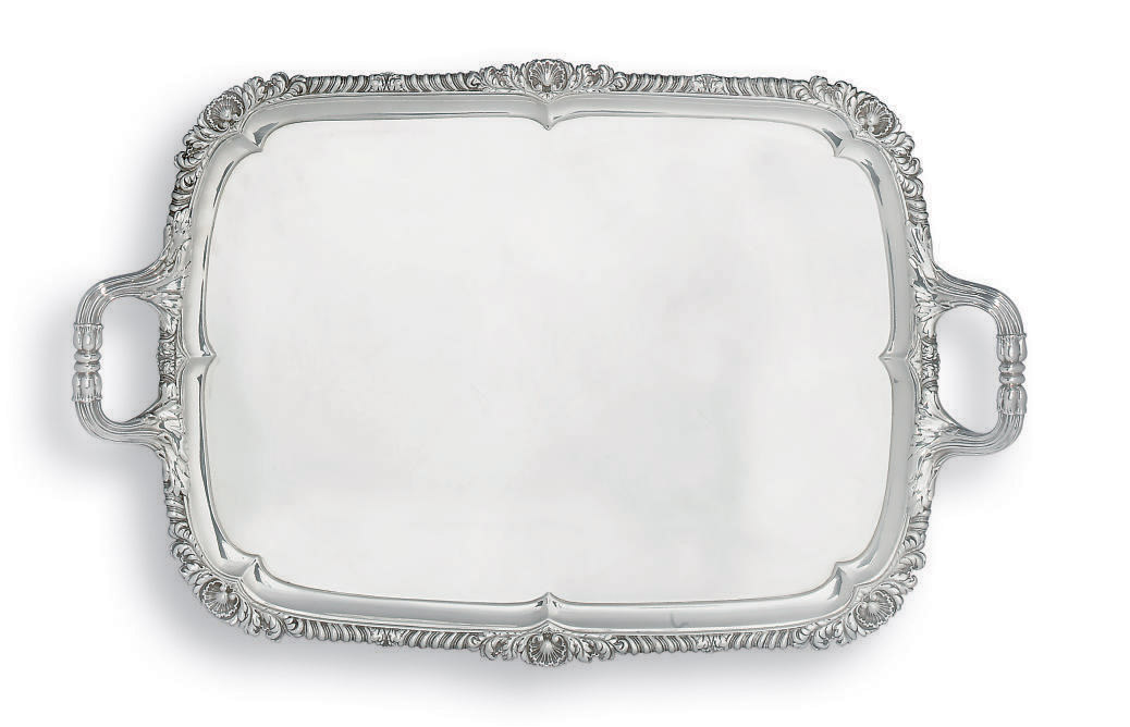A GEORGE IV SILVER TWO-HANDLED TRAY